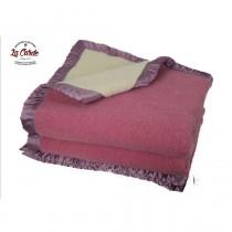 Couverture pure laine des Pyrénées  - rose